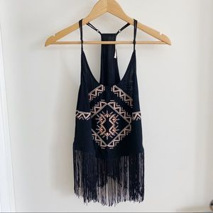 Haute Black Fringed Racer Back Cowgirl Tank Top